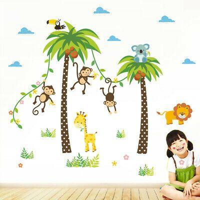 Bedroom Giraffe Lion Animals Wall Stickers Decals Mural Kids Room