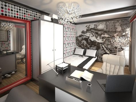 wandgestaltung jugendzimmer junge schwarz weiß rot mustertapeten - jugendzimmer schwarz wei