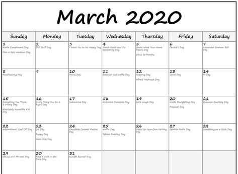 Free 2020 March Calendar Printable Editable Template Blank In 2020
