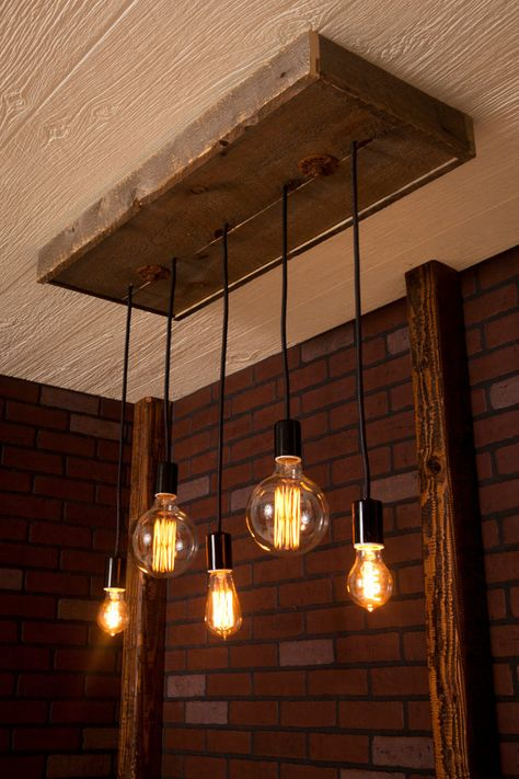 Mixed Line Bare Bulb Chandelier With Reclaimed Wood and by Bornagainwoodworks.etsy.com