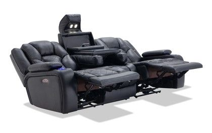 Panther Black Leather Dual Power Reclining Sofa Power Reclining