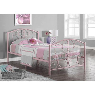 Casual Traditional Pink Twin Metal Bed Twin Size Bed Frame