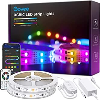 Govee Rgbic Led Strip Lights App And Remote Control For Bedroom Living Room Kitchen And Party Led Strip Lighting Led Color Changing Lights Strip Lighting