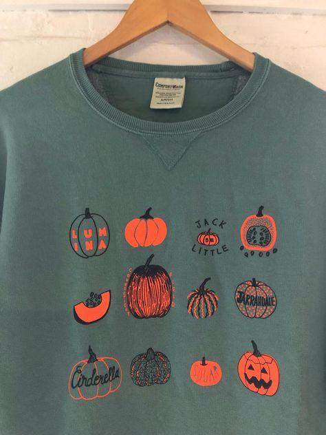 Pumpkin Sweatshirt Halloween Sweatshirt Screenprinted   Etsy Screen Printing Shirts, Printed Shirts, Halloween Sweatshirt, Autumn Aesthetic, Thing 1, Look Chic, Couture, Sweater Weather, Order Prints