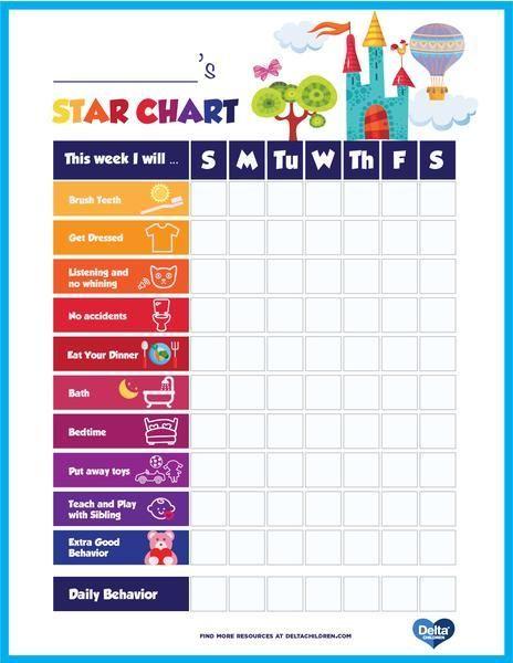 Printable Kids Star Behavior Chart Reward Chart Kids Kids Routine Chart Toddler Reward Chart