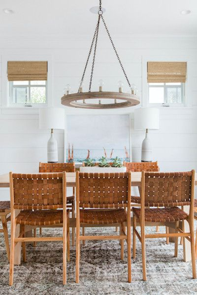 Exposed Bulbs Rustic Dining Room Amber Interiors Beach House