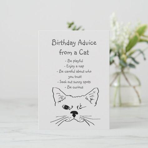 Birthday Advice from Winking Cat Fun Animal Humor