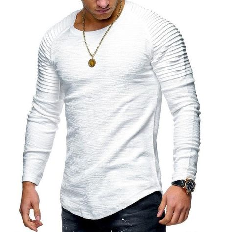 US Men/'s Slim Fit Crew Neck Long Sleeve Casual Muscle Tee T-shirts Tops Pullover