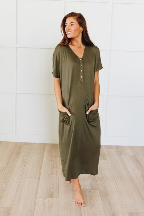 Best Women S House Dresses Modern Nursing Gowns Nesting Olive Nursing Gown House Dress House Clothes