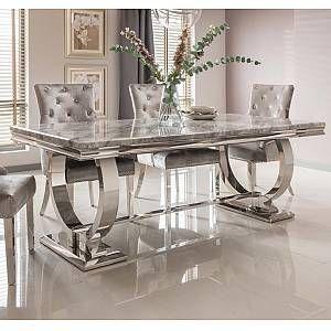 Vida Living Arianna Grey Marble Chrome 180cm Rectangular Dining Table Dining Table Marble Marble Top Dining Table Marble Dining