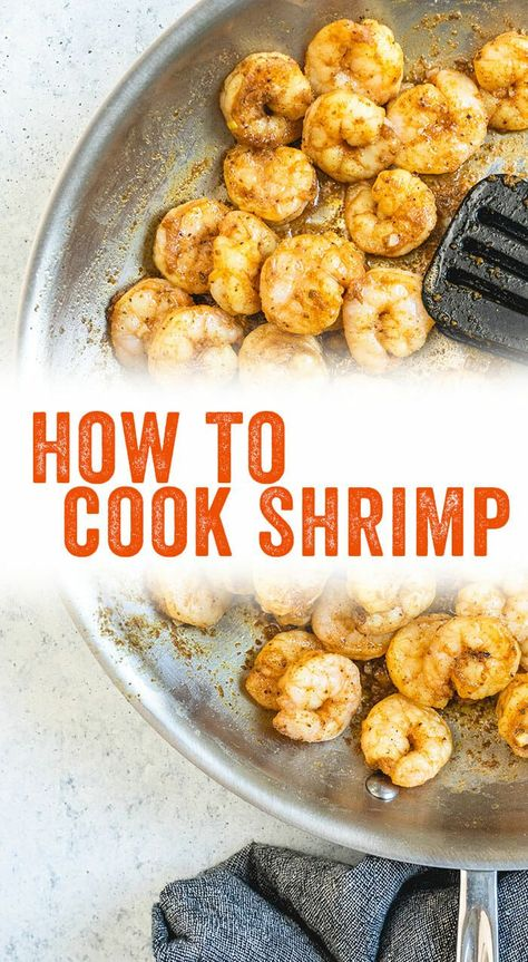 Wondering how to cook shrimp? Here's a quick tutorial on how to saute shrimp on the stove: and it takes only 4 minutes to cook! #shrimp #howto #cook #cooking #saute #seafood #healthy #dinner #quick