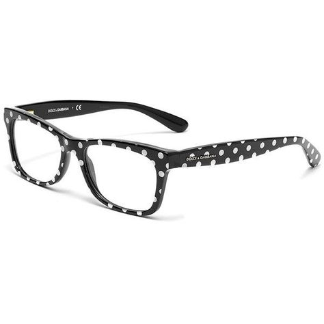 cb51e82877 Women s black and white polka dots acetate glasses with squared frame...  found on Polyvore