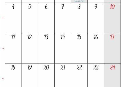 Calendrier janvier 2021 à imprimer gratuit | Calendrier janvier