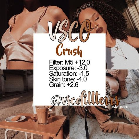 """vsco filters ♡ on Instagram: """"crush 🥀 (free filter) ; works best with brownish/ light pics filter made by: @aka.jaylee  and pics edited by: @drunkfess ————— [✨] tag…"""""""