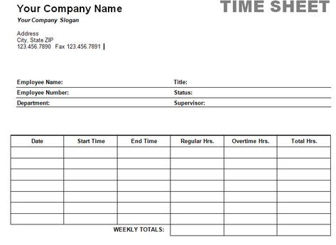 Free Printable Timesheet Templates Printable Weekly Time Sheet - volunteer timesheet template