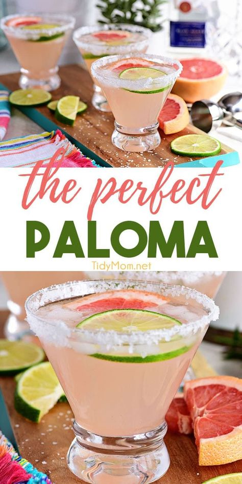 The Perfect Paloma Cocktail is a Mexican favorite. Made with fresh grapefruit juice and silver tequila it's is arguably more refreshing than a margarita. This bright citrus drink is perfect for weekend get-togethers. Print the full recipe at Cocktails Vodka, Refreshing Cocktails, Craft Cocktails, Party Drinks, Cocktail Drinks, Cocktail Tequila, Easter Cocktails, Cocktails With Champagne, Drinks With Mint