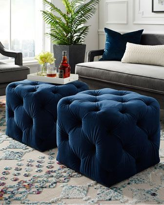 Inspired Home Tufted Velvet Cube Ottoman Ottoman Decor Cube