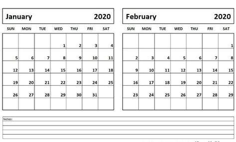 January February Calendar 2020 Printable Pdf Word Landscape