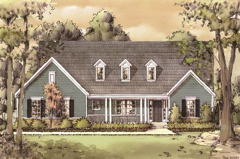This traditional cape cod ranch offers a story and a half look with a generous first floor master bedroom.  Cape Cod House Plan # 561004.