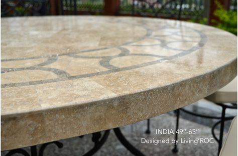 Round Mosaic Stone Garden Table