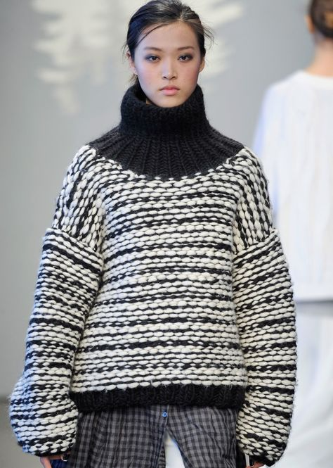 "wgsn: ""voluminous knitwear in black and white at tessgiberson features a cozy turtleneck #aw14 #nyfw """