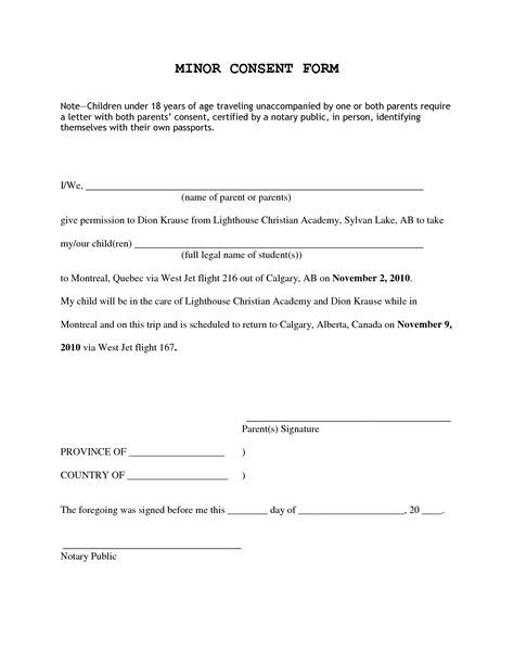consent permission inside letter for children travelling parental - medical consent form template