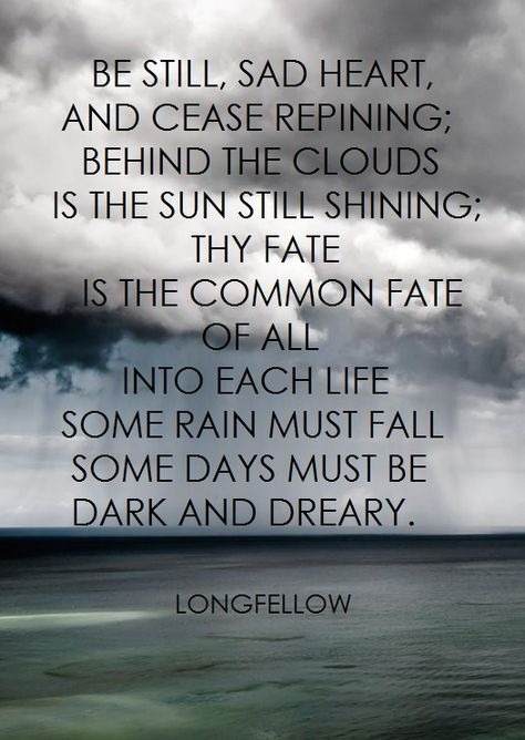 """""""Be still, sad heart, and cease repining. Behind the clouds is the sun still shining; thy fate is the common fate of all. Into each life some rain must fall. Some days must be dark and dreary."""" -Longfellow"""