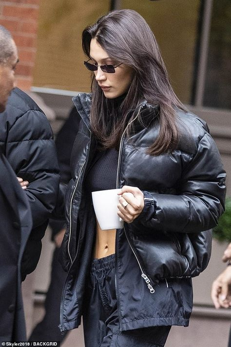 Bella Hadid flashes abs in crop top as she braves NYC with The Weeknd