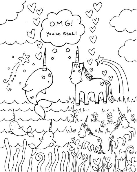 All Sizes Free Download Narwhal Unicorn Coloring Book Page Flickr Photo Sha Birthday Coloring Pages Happy Birthday Coloring Pages Unicorn Coloring Pages