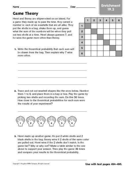 7th Grade Math Enrichment Worksheets Game Theory Enrichment Worksheet For 7th Grade Free Printable Math Worksheets Printable Math Worksheets Math Enrichment
