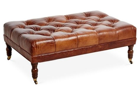 anna cocktail ottoman caramel leather