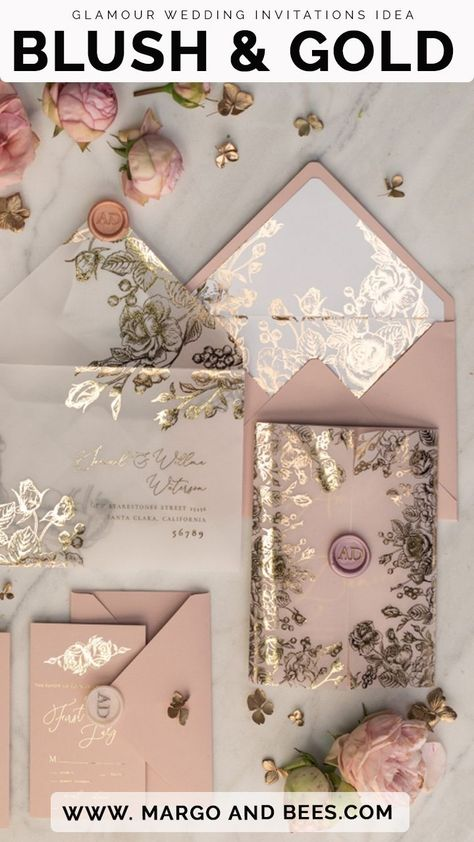Rose Gold Luxory Wedding Invitations Uk Vellum Glitter Wrap Blush Pink Wax Seal - Blush and gold wedding invitations -