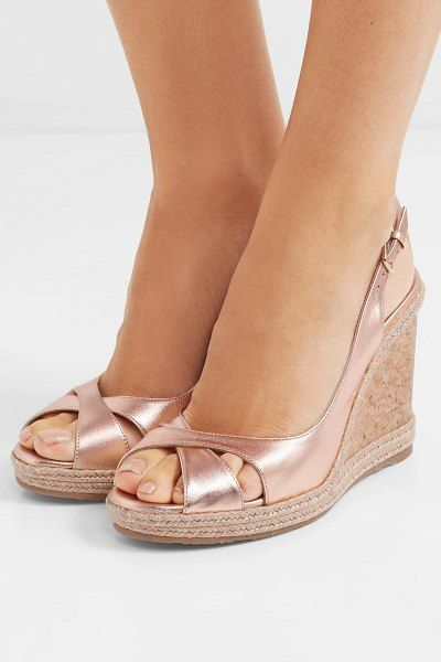e10ef35a17 Jimmy Choo amely 105 metallic leather espadrille wedge sandals. #jimmychoo  #nudeshoes #wedges