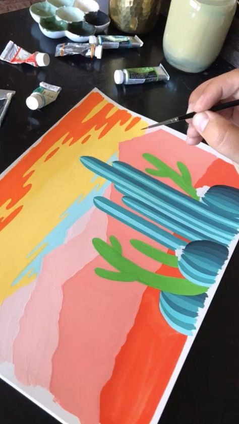 Painting a desert scene with gouache - #artsketches