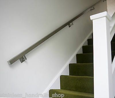 Details About Brushed Stainless Steel Metal Banister Stair | Brushed Stainless Steel Handrail | Rectangle | Glass Panel Wooden Handrail | Brushed Chrome | Matte Finish | Flat Bar Steel