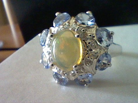 ETHIOPIAN OPAL & TANZANITE WEDDING ENGAGEMENT ANNIVERSARY RING SZ 6 SZ 7 + GIFT! #EXCEPTIONALBUY #SolitairewithAccents