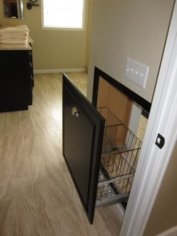 Drawer That Opens To Closet But Closets Into The Laundry Room Use Trash Can Slides And Cabinet Facing With Baskets Instead Of Plastic Bins