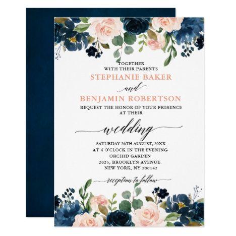 Navy Blue Blush Pink Rose Boho Wedding Invitation Zazzle Com