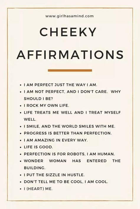 Girl Has a Mind - Cheeky affirmations, for those who like to add some humour - Girl Has a Mind | #afffirmations #confidence #success #successmindset