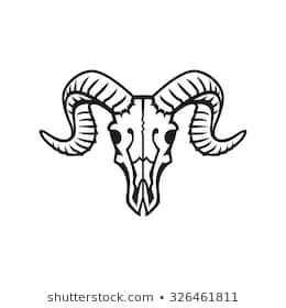 Ram Skull Logo Or Icon Black On White In 2020 Deer Skull Drawing Skull Icon Skull Silhouette