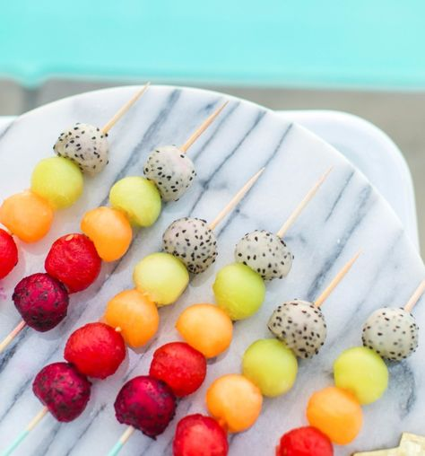 Rainbow Fruit Skewers From Bachelorette Brunch By But First
