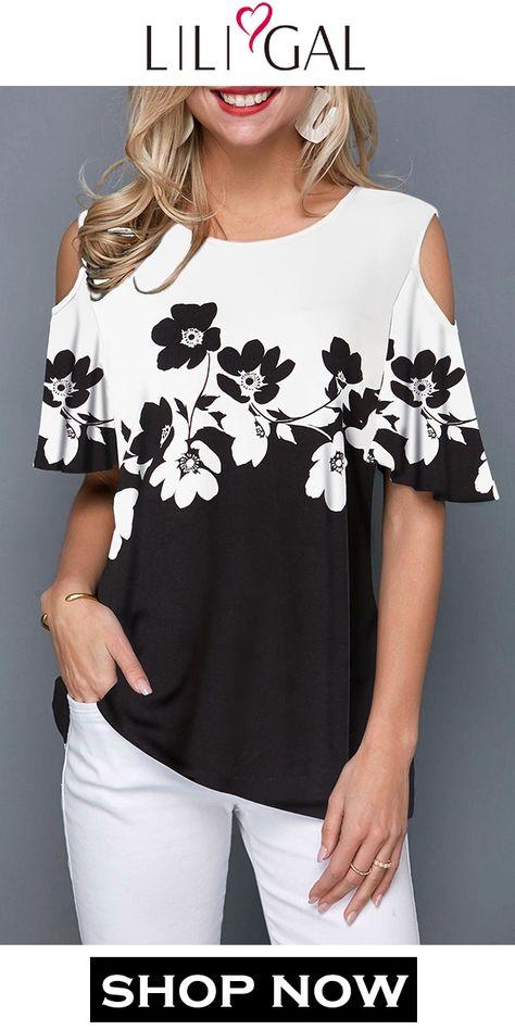 USD26.28  Spring Summer Black & White Flower Print Cold Shoulder Half Sleeve T Shirt