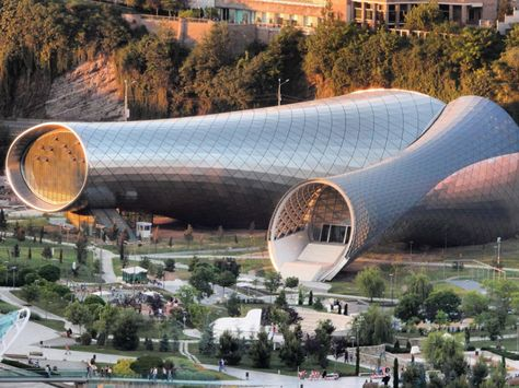Two funneled forms make up the entrance to Tbilisi's newest cultural center.