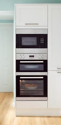Lamona Double Fan Oven and Integrated Microwave and Grill with Howden Greenwich Shaker White kitchen.