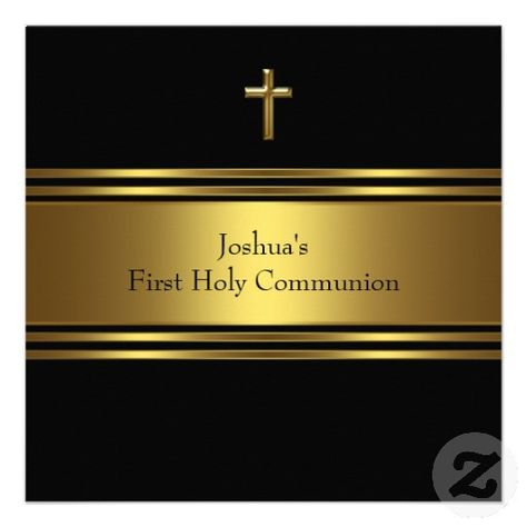 Black Gold Cross Boys First Communion Custom Announcement