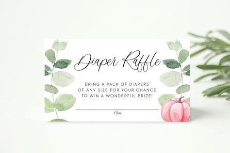 pink pumpkin diaper raffle ticket // pumpkin baby shower, fall floral, greenery, eucalyptus, baby girl, pink pumpkin, printable insert