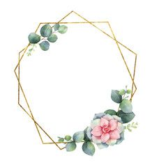 Watercolor Vector Composition From The Branches Of Eucalyptus Flowers Of Succulents And Gold Geometric Fr Floral Cards Design Vector Flowers Wreath Watercolor