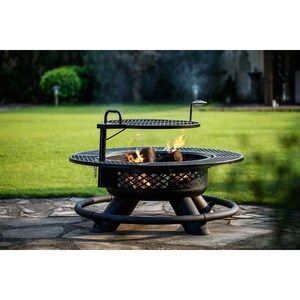 Big Horn 47 24 In W Black Steel Wood Burning Fire Pit At Lowes Com
