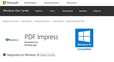 PDF Impress 10 is Windows 10 certified and listed in