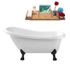 Streamline 61 In Acrylic Clawfoot Non Whirlpool Bathtub In White